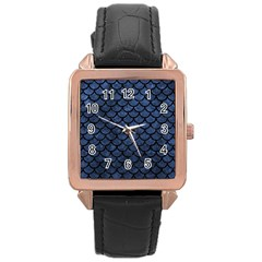 Scales1 Black Marble & Blue Stone (r) Rose Gold Leather Watch  by trendistuff