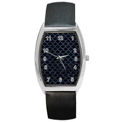 Scales1 Black Marble & Blue Stone Barrel Style Metal Watch by trendistuff