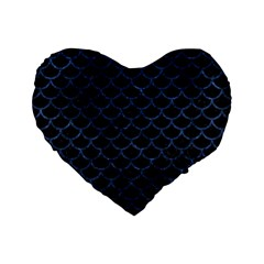Scales1 Black Marble & Blue Stone Standard 16  Premium Flano Heart Shape Cushion  by trendistuff