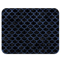 Scales1 Black Marble & Blue Stone Double Sided Flano Blanket (medium) by trendistuff
