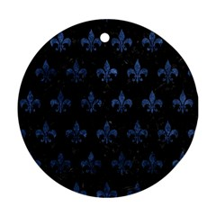 Royal1 Black Marble & Blue Stone (r) Ornament (round) by trendistuff