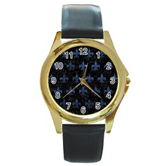 Royal1 Black Marble & Blue Stone (r) Round Gold Metal Watch by trendistuff