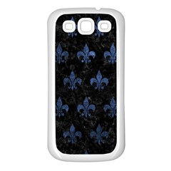 Royal1 Black Marble & Blue Stone (r) Samsung Galaxy S3 Back Case (white) by trendistuff