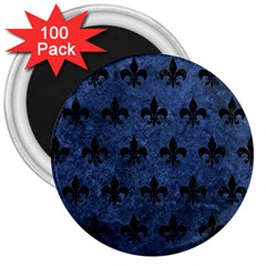 Royal1 Black Marble & Blue Stone 3  Magnet (100 Pack) by trendistuff