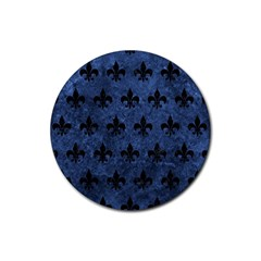 Royal1 Black Marble & Blue Stone Rubber Coaster (round) by trendistuff