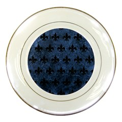 Royal1 Black Marble & Blue Stone Porcelain Plate by trendistuff