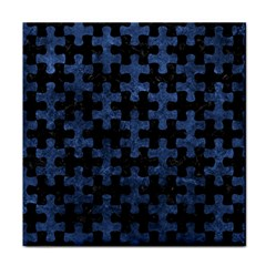 Puzzle1 Black Marble & Blue Stone Face Towel by trendistuff