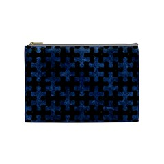 Puzzle1 Black Marble & Blue Stone Cosmetic Bag (medium) by trendistuff