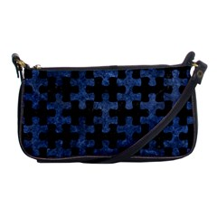 Puzzle1 Black Marble & Blue Stone Shoulder Clutch Bag by trendistuff