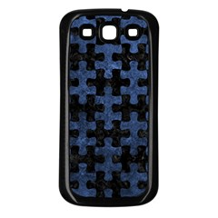 Puzzle1 Black Marble & Blue Stone Samsung Galaxy S3 Back Case (black) by trendistuff