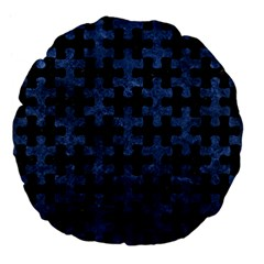 Puzzle1 Black Marble & Blue Stone Large 18  Premium Flano Round Cushion  by trendistuff