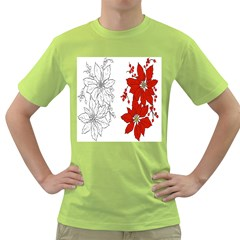 Poinsettia Flower Coloring Page Green T Shirt