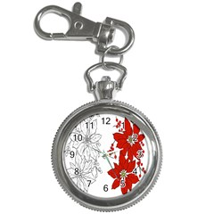 Poinsettia Flower Coloring Page Key Chain Watches by Simbadda