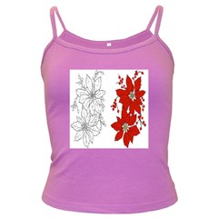 Poinsettia Flower Coloring Page Dark Spaghetti Tank