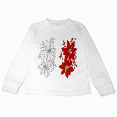 Poinsettia Flower Coloring Page Kids Long Sleeve T Shirts by Simbadda