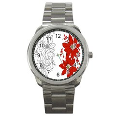 Poinsettia Flower Coloring Page Sport Metal Watch