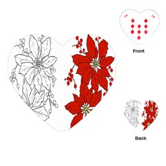 Poinsettia Flower Coloring Page Playing Cards (heart)  by Simbadda