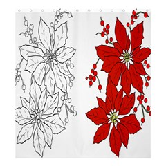 Poinsettia Flower Coloring Page Shower Curtain 66  X 72  (large)  by Simbadda