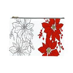 Poinsettia Flower Coloring Page Cosmetic Bag (large)  by Simbadda