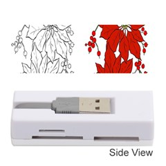 Poinsettia Flower Coloring Page Memory Card Reader (stick)  by Simbadda