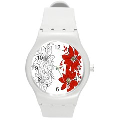 Poinsettia Flower Coloring Page Round Plastic Sport Watch (m) by Simbadda