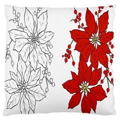 Poinsettia Flower Coloring Page Large Cushion Case (one Side) by Simbadda