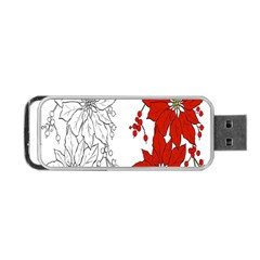 Poinsettia Flower Coloring Page Portable Usb Flash (two Sides) by Simbadda