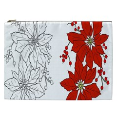 Poinsettia Flower Coloring Page Cosmetic Bag (xxl)  by Simbadda