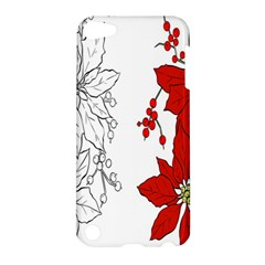 Poinsettia Flower Coloring Page Apple Ipod Touch 5 Hardshell Case by Simbadda