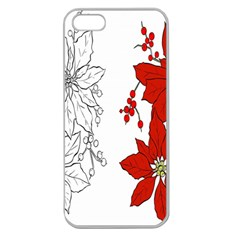 Poinsettia Flower Coloring Page Apple Seamless Iphone 5 Case (clear) by Simbadda