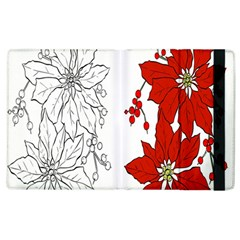 Poinsettia Flower Coloring Page Apple Ipad 3/4 Flip Case by Simbadda