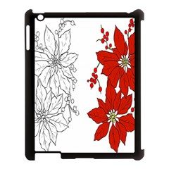 Poinsettia Flower Coloring Page Apple Ipad 3/4 Case (black) by Simbadda
