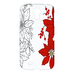 Poinsettia Flower Coloring Page Samsung Galaxy S4 I9500/i9505 Hardshell Case by Simbadda
