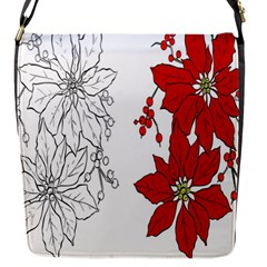 Poinsettia Flower Coloring Page Flap Messenger Bag (s)