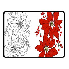 Poinsettia Flower Coloring Page Double Sided Fleece Blanket (small)  by Simbadda