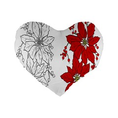 Poinsettia Flower Coloring Page Standard 16  Premium Flano Heart Shape Cushions by Simbadda