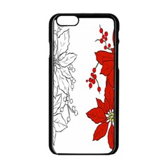 Poinsettia Flower Coloring Page Apple Iphone 6/6s Black Enamel Case by Simbadda