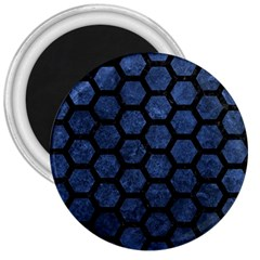 Hexagon2 Black Marble & Blue Stone (r) 3  Magnet by trendistuff