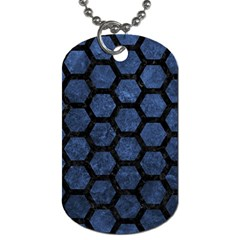 Hexagon2 Black Marble & Blue Stone (r) Dog Tag (two Sides) by trendistuff