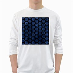 Hexagon2 Black Marble & Blue Stone (r) Long Sleeve T Shirt by trendistuff