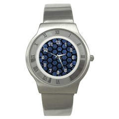 Hexagon2 Black Marble & Blue Stone (r) Stainless Steel Watch by trendistuff