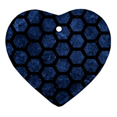 Hexagon2 Black Marble & Blue Stone (r) Heart Ornament (two Sides) by trendistuff