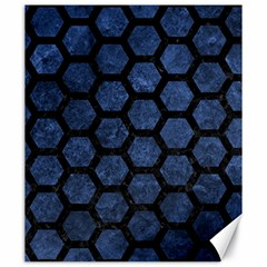 Hexagon2 Black Marble & Blue Stone (r) Canvas 20  X 24  by trendistuff