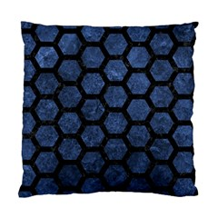 Hexagon2 Black Marble & Blue Stone (r) Standard Cushion Case (one Side) by trendistuff