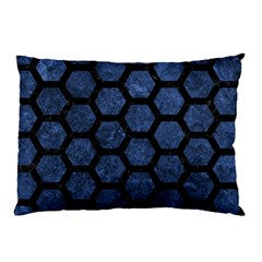 Hexagon2 Black Marble & Blue Stone (r) Pillow Case by trendistuff