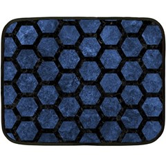 Hexagon2 Black Marble & Blue Stone (r) Fleece Blanket (mini) by trendistuff