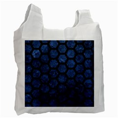 Hexagon2 Black Marble & Blue Stone (r) Recycle Bag (one Side) by trendistuff