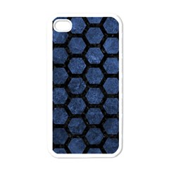 Hexagon2 Black Marble & Blue Stone (r) Apple Iphone 4 Case (white) by trendistuff