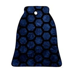 Hexagon2 Black Marble & Blue Stone (r) Bell Ornament (two Sides) by trendistuff
