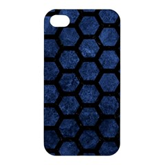 Hexagon2 Black Marble & Blue Stone (r) Apple Iphone 4/4s Hardshell Case by trendistuff